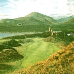"""9th At Royal Co. Down, N. Ireland"" - The magnificent front nine at Country Down is capped off with this view from a hill in front of the 9th tee. The Mourne Mountains in the distance make this scene truly magical"