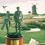 """C.B. Macdonald Cup At National"" - The MacDonald trophy sits on the front wall of the The National Golf Links Of America clubhouse with the windmill in the background.  SOLD OUT SOME ARTIST'S PROOFS AVAILABLE     C.B. Macdonal Cup At National Price: $450.00"