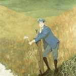 """The Caddie"" - This daydreaming lad is part of a mural at Westhampton CC on Long Island which was painted to commemorate the club's cenntenial celebration.       The Caddie Price: $350.00"