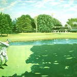 """Walter J. Travis On 18 at Garden City G.C."" - The ""Old Man"" with ever present stogie in his mouth is about to carve a mid iron to the 18th green which sits before the classic the Garden City Golf Club Clubhouse.  SOLD OUT SOME ARTIST'S PROOFS AVAILABLE   Walter J. Travis Price: $450.00"